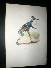Grandville des Animaux 1842 Hand Col Print. Bird With Letter